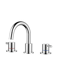 cheap -Bathroom Sink Faucet - Widespread Chrome / Nickel Brushed Finish Dual Levers Bath Basin Faucet Hot and Cold Water Mixer Tap