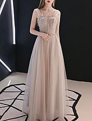 cheap -A-Line Elegant Grey Prom Formal Evening Dress Sweetheart Neckline Sleeveless Floor Length Polyester with Pleats Beading 2020
