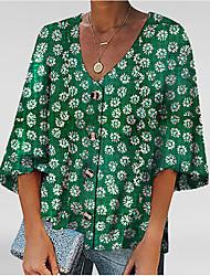 cheap -Women's Geometric Print T-shirt Daily V Neck Blue / Green