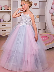 cheap -Ball Gown Floor Length Event / Party / Formal Evening Flower Girl Dresses - Polyester Sleeveless Spaghetti Strap with Tier / Appliques