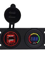 cheap -5V Car Charger / Center Console 4.2A with Aperture Dual USB Red / Blue / Green  12V Color Screen Voltmeter / IP65