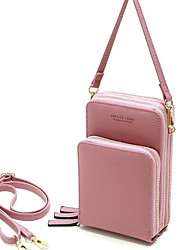 cheap -Women's Bags PU Leather Crossbody Bag Solid Color Daily Leather Bag MessengerBag Black Purple Red Blushing Pink