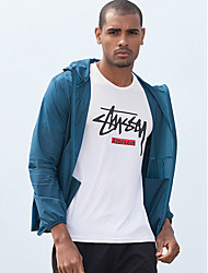 cheap -Men's Daily / Sports Basic Spring &  Fall / Spring & Summer Regular Jacket, Solid Colored / Letter Hooded Long Sleeve Nylon Print Blue / White / Light gray