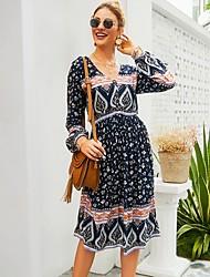 cheap -Women's Royal Blue Dress A Line Print S M