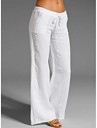 cheap -Women's Basic Loose Chinos Pants - Solid Colored White Black Blue S / M / L