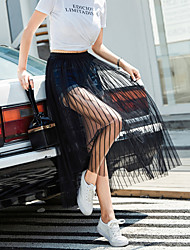 cheap -Women's Dress / Going out Active / Street chic Pencil Skirts - Striped Tulle Black S M L / Loose