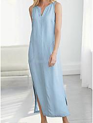 Недорогие -Жен. А-силуэт Платье - Длинный рукав Сплошной цвет V-образный вырез Белый Черный Желтый Светло-синий S M L XL XXL