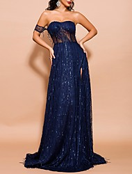 cheap -Sheath / Column Sexy Blue Prom Formal Evening Dress Off Shoulder Short Sleeve Sweep / Brush Train Polyester with Sequin Tassel Split 2020