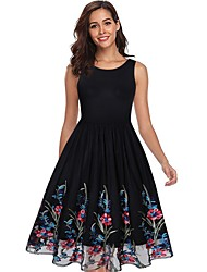 cheap -Women's Black Dress A Line Floral S M