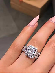 cheap -Ring AAA Cubic Zirconia Geometrical White Copper Silver-Plated Statement Luxury 1pc 6 7 8 9 10 / Women's