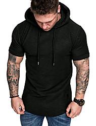 cheap -Men's Solid Colored T-shirt Basic Daily Sports Hooded Black / Khaki / Green / Gray / Short Sleeve