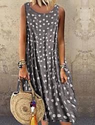 cheap -Women's Swing Dress - Sleeveless Polka Dot Wine White Black Blue Purple Yellow Orange Green Gray S M L XL XXL XXXL XXXXL XXXXXL