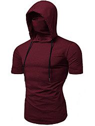 cheap -Men's Solid Colored T-shirt Daily Hooded Wine / Black / Gray / Short Sleeve