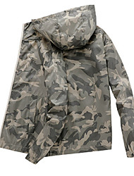 cheap -Men's Daily / Sports Basic Spring &  Fall / Spring & Summer Regular Jacket, Color Block / Camo / Camouflage Hooded Long Sleeve Nylon Patchwork Army Green / White / Black