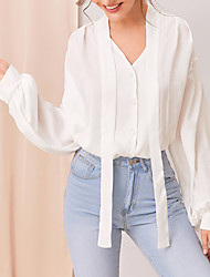 cheap -New 2020 Women's Bow Tie Lace Up White Long Sleeve Blouse
