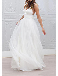 cheap -A-Line Wedding Dresses Spaghetti Strap Plunging Neck Floor Length Taffeta Tulle Chiffon Over Satin Sleeveless Country Plus Size with Buttons Ruched 2020
