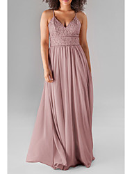 cheap -A-Line Spaghetti Strap / Plunging Neck Floor Length Chiffon / Lace Bridesmaid Dress with Beading / Ruching