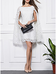 cheap -Sheath / Column Cut Out White Wedding Guest Cocktail Party Dress Boat Neck Long Sleeve Short / Mini Lace with Lace Insert 2020