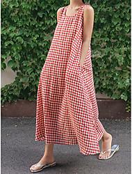 Недорогие -Жен. Макси А-силуэт Платье - Без рукавов Шахматка U-образный вырез Черный Красный S M L XL XXL XXXL