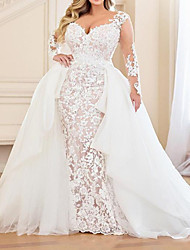 cheap -Mermaid / Trumpet Wedding Dresses V Neck Sweep / Brush Train Lace Organza Long Sleeve Country Plus Size with Lace Embroidery Cascading Ruffles 2021