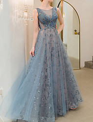 cheap -A-Line Sexy Blue Prom Formal Evening Dress Jewel Neck Sleeveless Floor Length Polyester with Sequin 2020