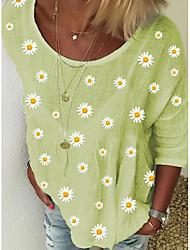 cheap -Women's Geometric Print T-shirt Daily White / Yellow / Light Blue