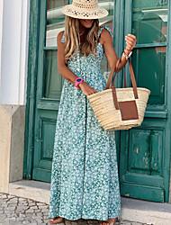 Недорогие -Жен. Макси А-силуэт Платье - Без рукавов Цветочный принт На бретелях Светло-синий S M L XL