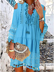 cheap -Women's Shift Dress Short Mini Dress - 3/4 Length Sleeve Lace Tassel Fringe Cold Shoulder Summer Deep V Casual Boho Holiday Vacation Beach 2020 White Blue Yellow Blushing Pink Beige S M L XL XXL XXXL