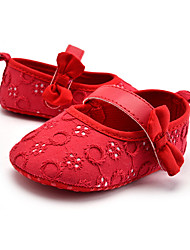 cheap -Girls' Comfort / First Walkers Lace Flats Embroidery Infants(0-9m) / Toddler(9m-4ys) Bowknot Black / Red Spring / Fall