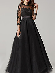 cheap -Ball Gown Elegant Black Quinceanera Prom Dress Illusion Neck 3/4 Length Sleeve Floor Length Lace Tulle with Lace Insert 2020