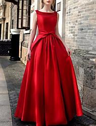 Недорогие -Жен. Макси С летящей юбкой Платье - Без рукавов Однотонный Черный Красный S M L XL