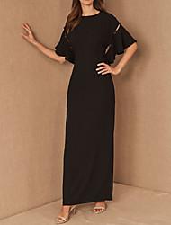 cheap -Sheath / Column Mother of the Bride Dress Elegant Jewel Neck Floor Length Chiffon Short Sleeve with Ruffles 2020