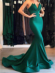 cheap -Mermaid / Trumpet Beautiful Back Minimalist Formal Evening Dress Sweetheart Neckline Plunging Neck Sleeveless Court Train Matte Satin with Draping 2020