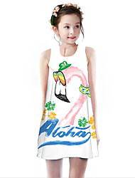 cheap -Kids Girls' Basic Cute Flamingos Rainbow Animal Cartoon Print Sleeveless Knee-length Dress White