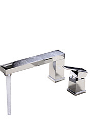 cheap -Bathroom Sink Faucet - Widespread Chrome Solid Brass Deck Mounted Single Handle Two Holes Bath Taps Shower Room Wash Basin Faucet