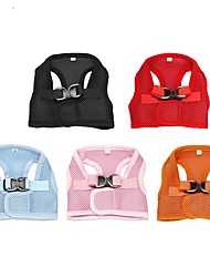 cheap -Cat Dog Harness Cartoon Mesh Harness Breathable Soft Walking Solid Colored Nylon Baby Pet puppy Small Dog Black Purple