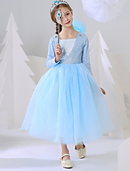 cheap -Ball Gown Ankle Length Event / Party / Birthday Flower Girl Dresses - Polyester Long Sleeve Square Neck with Splicing / Paillette