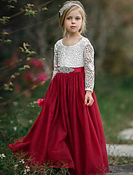 cheap -A-Line Floor Length Event / Party / Birthday Flower Girl Dresses - POLY Long Sleeve Jewel Neck with Lace / Sash / Ribbon / Pleats