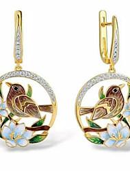 cheap -Women's Drop Earrings Geometrical Fashion Stylish Gold Plated Imitation Diamond Earrings Jewelry Gold For Anniversary Festival 1 Pair