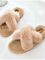 cheap -Women's Slippers & Flip-Flops Fuzzy Slippers Flat Heel Open Toe Daily Rabbit Fur Black Beige