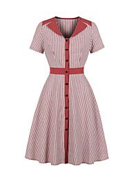 cheap -Women's A Line Dress - Short Sleeves Striped V Neck Wine Blue Green S M L XL XXL