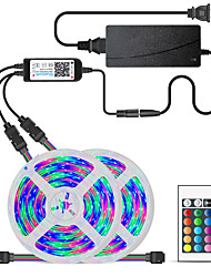 cheap -2x5M Flexible LED Light Strips Light Sets RGB Tiktok Lights 600 LEDs SMD5050 10mm 1 24Keys Remote Controller 1 x 10A power adapter 1 set Multi Color Waterproof APP Control Cuttable 12 V