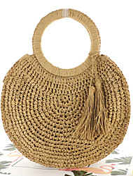 cheap -Women's Tassel Polyester / Straw Top Handle Bag Straw Bag Solid Color Brown / Beige / Fall & Winter