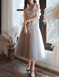 cheap -A-Line Color Block Floral Engagement Prom Dress Halter Neck Short Sleeve Ankle Length Tulle with Appliques 2020