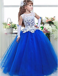 cheap -Ball Gown Floor Length Party / Wedding Flower Girl Dresses - Lace / Satin / Taffeta Sleeveless Jewel Neck with Tier / Appliques