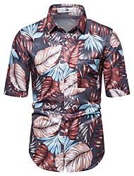 voordelige -Heren Geometrisch Print Overhemd Hawaii Dagelijks Licht Bruin / Klaver