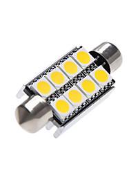 Недорогие -41 мм 5050 c5w 8 светодиодный купол гирлянды 12 В постоянного тока светодиодный интерьер салона для чтения фар багажника лампы белый теплый белый 2 шт.