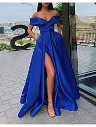 cheap -Ball Gown Minimalist Sexy Party Wear Prom Dress Off Shoulder Short Sleeve Sweep / Brush Train Satin with Sash / Ribbon Pleats Split 2021