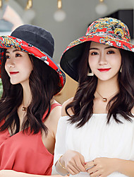 cheap -Hiking Hat Fishing Hat Fisherman Hat Hat 1 PCS Portable Sunscreen UV Resistant Breathable Floral / Botanical Cotton Autumn / Fall Spring Summer for Women's Camping / Hiking Hunting Fishing Yellow Red