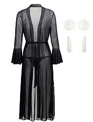 Недорогие -женские блестки / сетка / кисточка бахрома эротические костюмы ночное белье однотонные красный белый черный м х х л